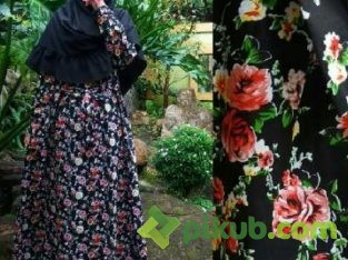 My Quill – Black Spring Flowers Long Dress