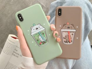 Soft Case Couple Milk Tea Bear